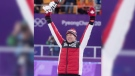 Men's 10,000-metre speed skating gold medalist, Canada's Ted-Jan Bloemen salutes the crowd from the podium during victory ceremonies at the Pyeonchang Winter Olympics Thursday, February 15, 2018 in Gangneung, South Korea. THE CANADIAN PRESS/Paul Chiasson