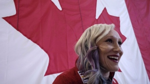Canadian Olympic bobsledder Kaillie Humphries speaks to media after being named to the bobsled team in Calgary, Alta., Wednesday, Jan. 24, 2018. (THE CANADIAN PRESS/Jeff McIntosh)