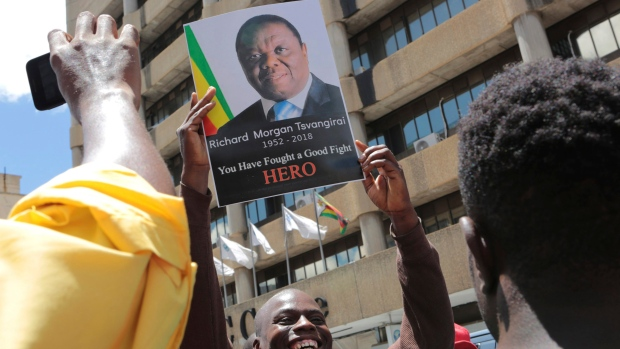 Zimbabwe's president leads tributes to opposition leader Tsvangirai