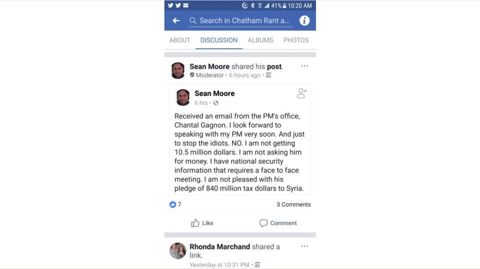 A Facebook Post made by Sean Moore on Feb. 14, 2018. (Facebook)