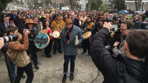 A large group of Indigenous and non-Indigenous supporters marched from Thunderbird Park to the B.C. Legislature Thursday to stand against violence toward women and children. Feb. 15, 2018. (CTV Vancouver Island)