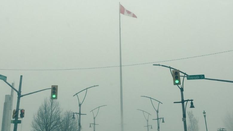 Foggy Windsor riverfront on Feb. 15, 2018. (Sacha Long / CTV Windsor)