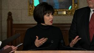 Health Minister Ginette Petitpas Taylor speaks to the media on marijuana legalization on Feb. 15, 2018.