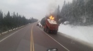 Roadside dump truck fire