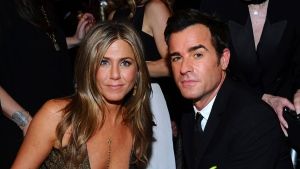 In this Jan. 25, 2015 file photo, Jennifer Aniston, left, and Justin Theroux pose in the audience at the 21st annual Screen Actors Guild Awards in Los Angeles. (Photo by Vince Bucci/Invision/AP, File)