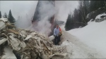 Load fire put out with snow shovel & extinguisher