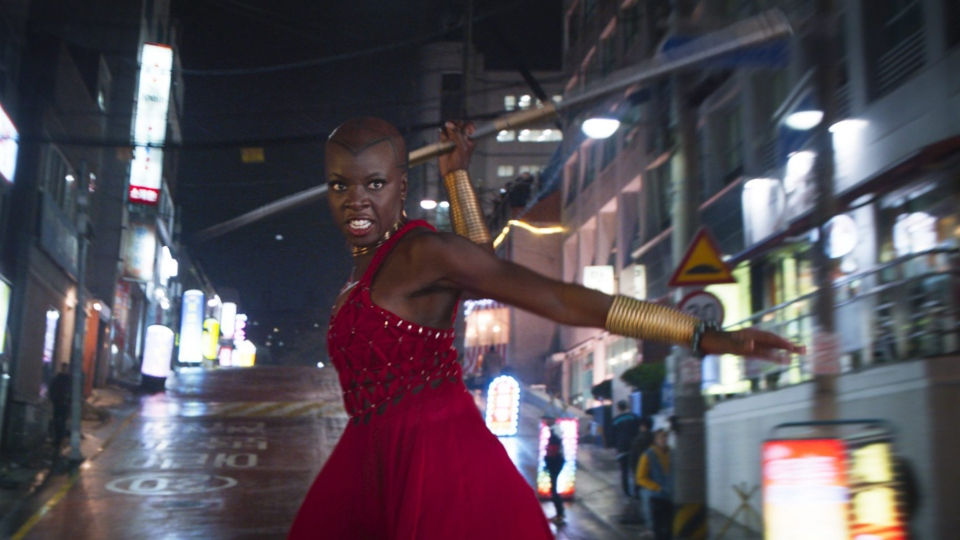 This image released by Disney shows Danai Gurira in a scene from Marvel Studios' 'Black Panther.' (Marvel Studios-Disney via AP)