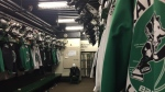 A Huskies hockey locker room is shown here at Rutherford Rink. (Pat McKay/CTV Saskatoon)