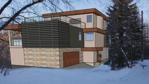 An artist's rendering of the proposed three-storey home in the Mill Creek Ravine.