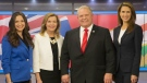 Ontario Conservative party leadership candidates Tanya Granic Allen, left to right, Christine Elliott, Doug Ford and Caroline Mulroney pose for a photo in TVO studios in Toronto following a televised debate on Thursday, Feb. 15, 2018. THE CANADIAN PRESS/Chris Young