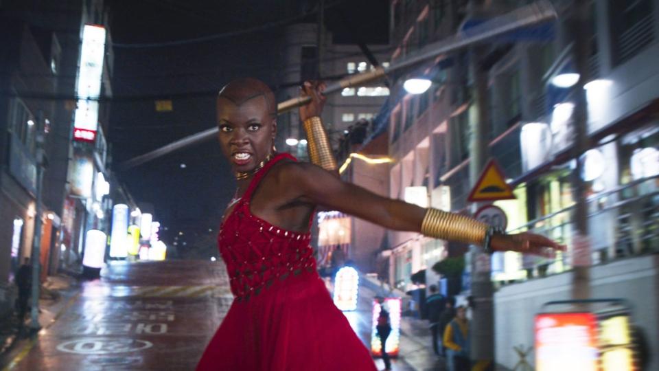 Danai Gurira in Marvel Studios' 'Black Panther.' (Marvel Studios-Disney via AP)