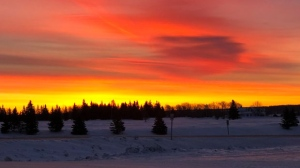 Early morning sunrise in Onanole, MB. Photo by Di Dowhan.