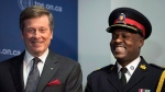 Toronto Mayor John Tory, left, laughs with Police Chief Mark Saunders before Saunders was introduced at a press conference in Toronto on Monday, April 20, 2015. THE CANADIAN PRESS/Darren Calabrese