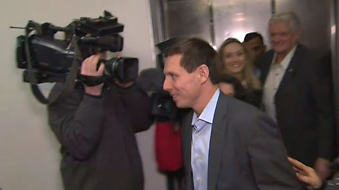 Patrick Brown arrives at Ontario PC Party headquarters in Toronto on Feb. 16, 2018.