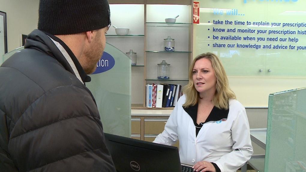 Stuntman Stu talking to pharmacist Shauna Devison.