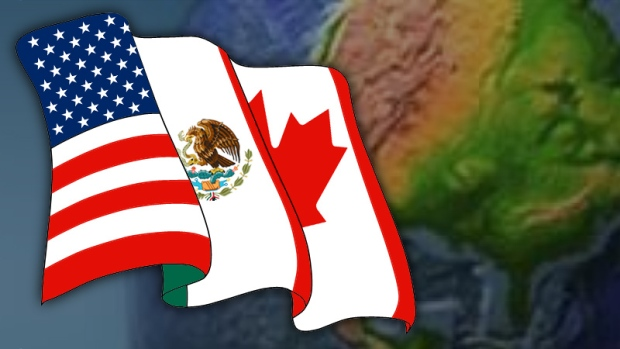 NAFTA flag and globe