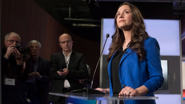 PC Ontario Leadership candidate Tanya Granic Allen scrums with journalists at the TVO studios Toronto on Thursday, Feb.15, 2018 following a televised debate with fellow candidates Christine Elliott, and Doug Ford and Caroline Mulroney. (Chris Young/THE CANADIAN PRESS)