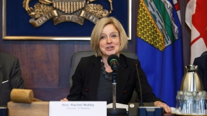 Alberta Premier Rachel Notley makes remarks before the first meeting of the Market Access Task Force, convened to respond to B.C. in the fight over the Trans Mountain oil pipeline, in Edmonton Alta, on Wednesday February 14, 2018. (THE CANADIAN PRESS / Jason Franson)