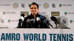 Roger Federer faces the media Friday Feb. 16, 2018, in Rotterdam, Netherlands, after becoming ranked as the world number one player. (Michael C. Corder/AP Photo)