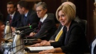 Alberta Premier Rachel Notley makes remarks before the first meeting of the Market Access Task Force, convened to respond to B.C. in the fight over the Trans Mountain oil pipeline, in Edmonton Alta, on Wednesday February 14, 2018. THE CANADIAN PRESS/Jason Franson