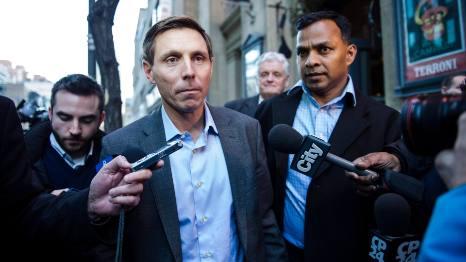 Patrick Brown speaks to media following a meeting at the Conservative Party headquarters in Toronto on Friday, February 16, 2018. (THE CANADIAN PRESS / Christopher Katsarov)