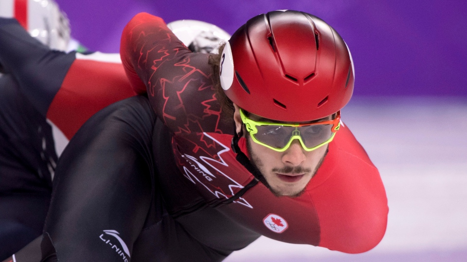 Canada's Samuel Girard, of Ferland-et-Boilleau, Que., competes in the men's 1000-metre short-track speedskating quarter-finals at the 2018 Olympic Winter Games, in Gangneung, South Korea, Saturday, February 17, 2018. THE CANADIAN PRESS/Paul Chiasson