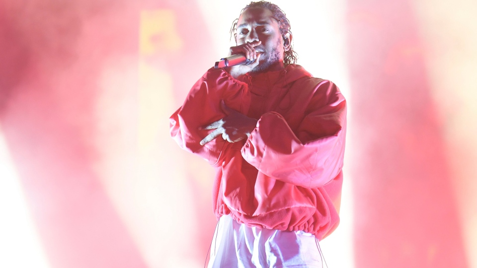 Kendrick Lamar performs at L.A. LIVE's Microsoft Square during NBA All Star Weekend 2018 on Friday, Feb. 17, 2018, in Los Angeles. (Photo by Richard Shotwell/Invision/AP)