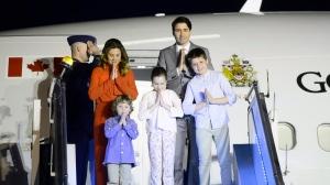 Prime Minister Justin Trudeau, wife Sophie Gregoire Trudeau, and children, Xavier, 10, Ella-Grace, 9, and Hadrien, 3, arrive in New Delhi, India, on Saturday, Feb. 17, 2018. (THE CANADIAN PRESS/Sean Kilpatrick)