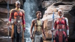 "This image released by Disney -Marvel Studios shows, from left, Danai Gurira, Lupita Nyong'o and Florence Kasumba in a scene from ""Black Panther."" (Matt Kennedy/Disney/Marvel Studios via AP)"