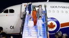 Prime Minister Justin Trudeau and wife Sophie Gregoire Trudeau, son Xavier, 10, daughter Ella-Grace, 9, and son Hadrien, 3, arrive in New Delhi, India, on Saturday, Feb. 17, 2018. THE CANADIAN PRESS/Sean Kilpatrick
