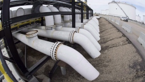 Pipes are seen at the Kinder Morgan Trans Mountain facility in Edmonton, Alta., Thursday, April 6, 2017. THE CANADIAN PRESS/Jonathan Hayward