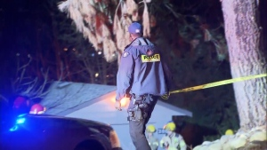 Police respond to a shooting in Coquitlam on Feb. 16, 2018.