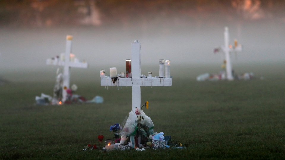 An early morning fog rises where 17 memorial crosses were placed, for the 17 deceased students and faculty from the Wednesday shooting at Marjory Stoneman Douglas High School, in Parkland, Fla., Saturday, Feb. 17, 2018. (Gerald Herbert/AP Photo)
