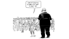 "Pia Guerra's ""Hero's Welcome"" shows a young girl leading the school's football coach Aaron Feis by the hand to meet a crowd of other people killed in school shootings. (Twitter / @PiaGuerra)"