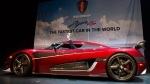 Swedish entrepreneur, Christian von Koenigseggdrives away in the Koenigsegg Agera RS, billed as the fastest production car on the planet, at the Canadian International AutoShow in Toronto on Thursday, February 15, 2018. THE CANADIAN PRESS/Christopher Katsarov