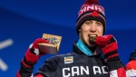 Alex Beaulieu-Marchand of Canada receives the bronze medal for finishing in 3rd position in the men's ski slopestyle final at the PyeongChang Olympic Plaza during the 2018 Olympic Winter Games, in Pyeongchang, South Korea on February 18, 2018. THE CANADIAN PRESS/HO-COC, Vincent Ethier