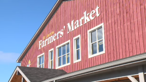 One of the signs outside the St. Jacobs Farmers' Market.
