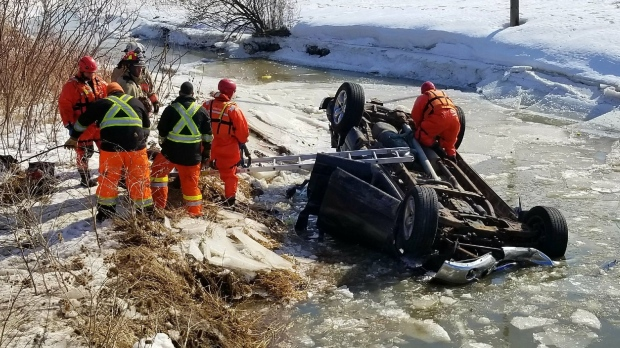 Rescue workers at the scene of a fatal crash near Jarvis. (Courtesy: Dave Ritchie)