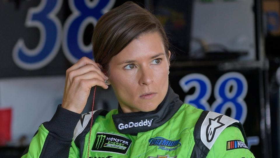 Danica Patrick prepares for practice for the NASCAR Daytona 500 Cup Series auto race at Daytona International Speedway in Daytona Beach, Fla., Saturday, Feb. 17, 2018. (AP Photo/Phelan M. Ebenhack)