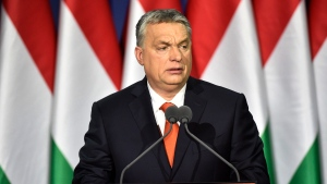"""Hungarian Prime Minister Viktor Orban delivers his annual """"State of Hungary"""" speech in Budapest, Hungary, in Budapest, Hungary, Sunday, Feb. 18, 2018. (Zoltan Mathe/MTI via AP)"""