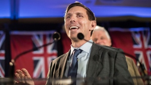 Ontario Conservative leadership candidate Patrick Brown addresses supporters and the media in Toronto on Sunday, February 18, 2018. The former party leader resigned his position after sexual misconduct allegations, only to re-enter race for his vacated position after refuting the allegations. THE CANADIAN PRESS/Chris Young