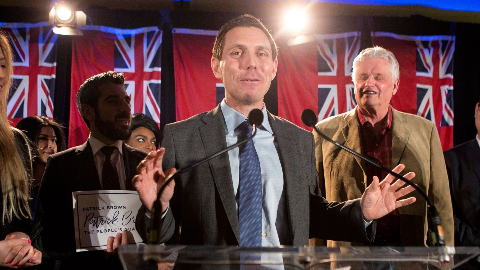 Ontario Conservative leadership candidate Patrick Brown takes to the stage to address supporters and the media in Toronto on Sunday February 18, 2018. THE CANADIAN PRESS/Chris Young