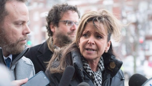 Quebec Nurse Union (FIQ) president Nancy Bedard responds to reporters questions before meeting with Quebec Health Minister Gaetan Barrette Tuesday, February 6, 2018. (THE CANADIAN PRESS/Jacques Boissinot)