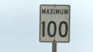 speed limit sign 100