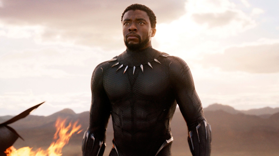 "This image released by Disney and Marvel Studios' shows Chadwick Boseman in a scene from ""Black Panther."" (Marvel Studios/Disney via AP)"
