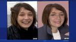 Marilyn Bergeron is pictured here in 2008 (Left) and in an age-progression portrait compiled by authorities in 2018 (Right) to renew public interest in the investigation. She disappeared February 17, 2008. (CTV Montreal)