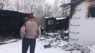 This is the closest Simmons said he's been able to stand to the burnt structure since the fire Feb. 9. (Beth Macdonell/CTV Winnipeg)