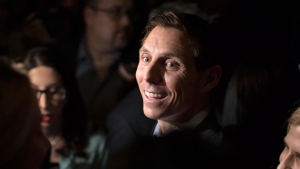 Ontario Conservative leadership candidate Patrick Brown scrums with reporters after addressing supporters and the media in Toronto on Sunday, February 18, 2018. THE CANADIAN PRESS/Chris Young