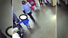 The man captured in this photo is wanted for grabbing the hands of children. (Courtesy: WRPS)