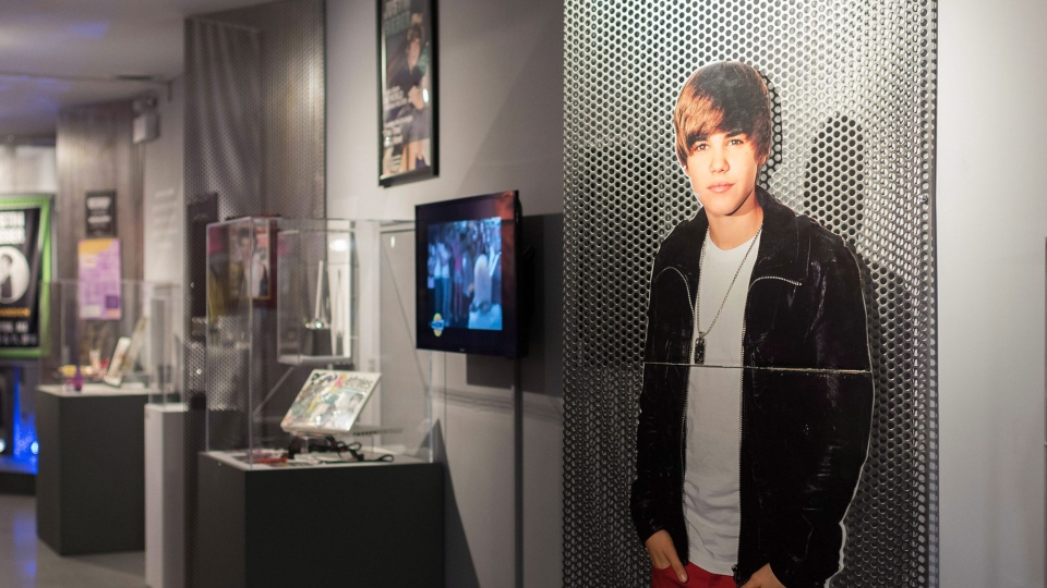 Various memorabilia sits at the Stratford Perth Museum for the Steps to Stardom exhibition about Justin Bieber in Stratford Ont. on Saturday, Feb.17, 2018. THE CANADIAN PRESS/Hannah Yoon